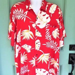 Go Hawaii Hawaiian Camp Shirt Red White Leaves XXL